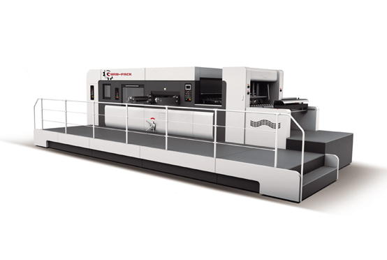 Lead edge feeder flat bed creasing and die cutting machine with stripping